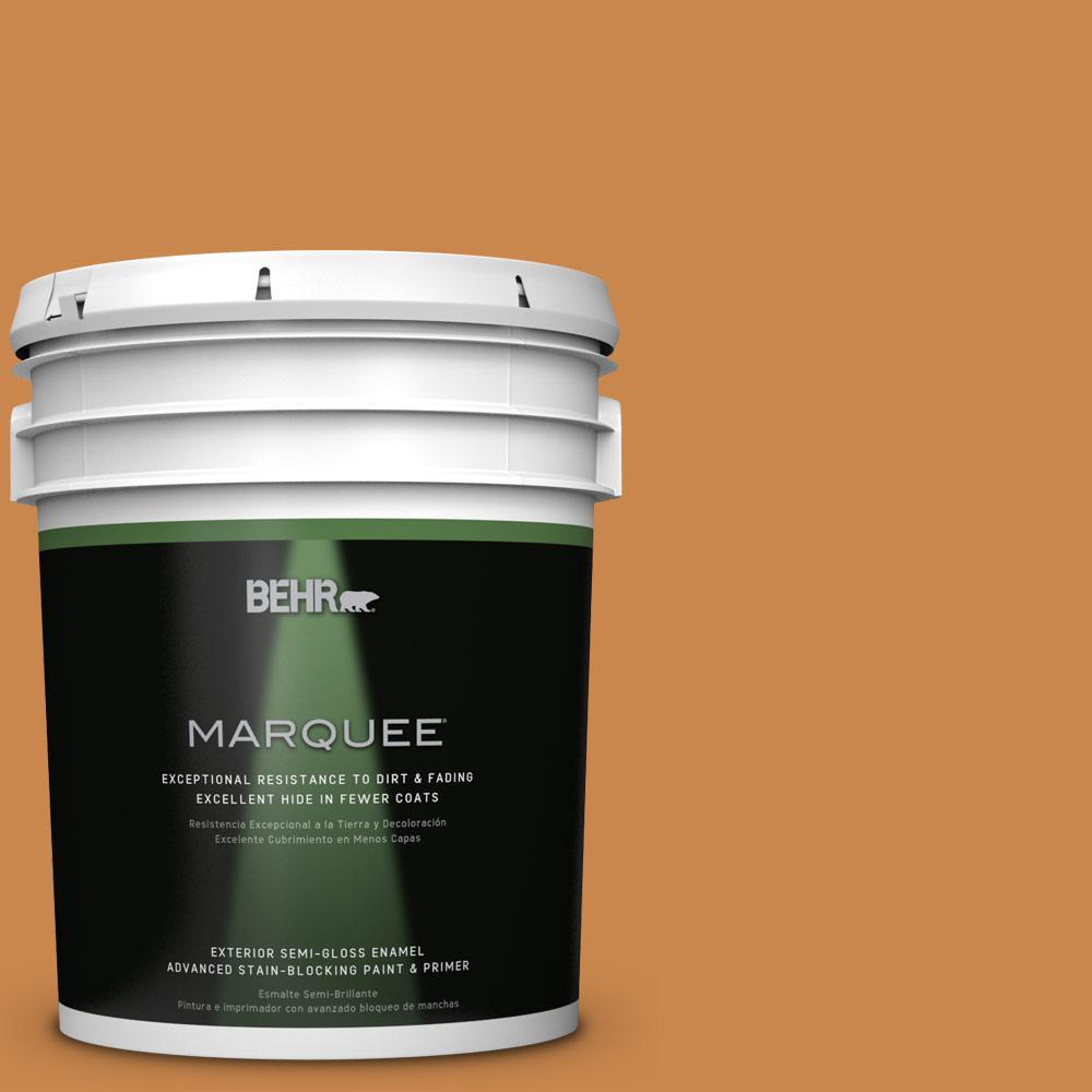 BEHR MARQUEE 5-gal. #M240-7 Golden Pumpkin Semi-Gloss Enamel Exterior Paint