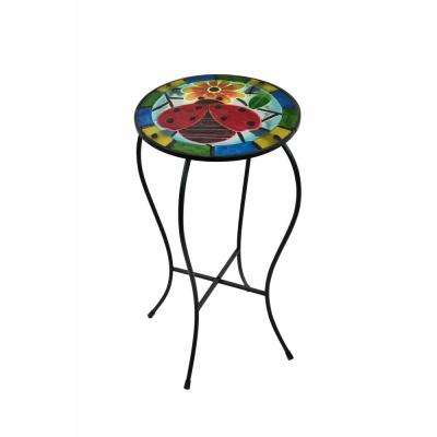 Ladybug 22 in Metal and Glass Glow in the Dark Plant Stand