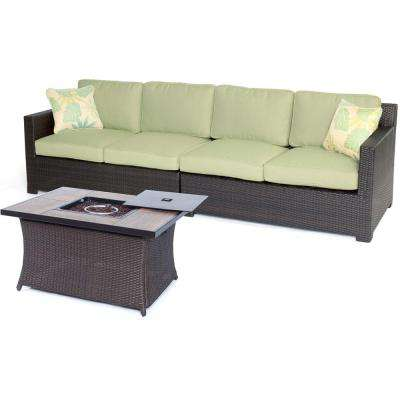 Haven 3-Piece All-Weather Wicker Patio Fire Pit Conversation Set with Green Cushions