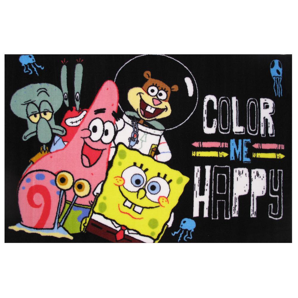 Sponge Bob Color Me Happy Black 2 ft. x 2 ft. Area Rug