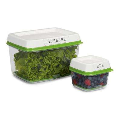 Fresh Works Produce Saver 2-Piece Green Storage Container Set