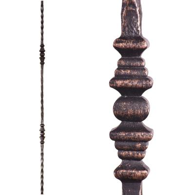 Tuscan Square Hammered 44 in. x 0.5625 in. Oil Rubbed Bronze Double Decorative Knuckle Solid Wrought Iron Baluster