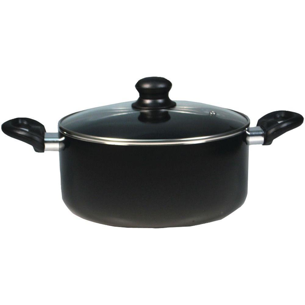 Simplicity 5.3 qt. Aluminum Nonstick Sauce Pot in Black with Glass Lid