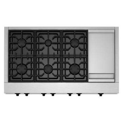 48 in. Gas Cooktop in Stainless Steel with Griddle and 6 Burners including Two 20000-BTU Ultra Power Dual-Flame Burners
