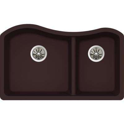 Quartz Luxe Undermount Composite 33 in. Rounded 60/40 Double Bowl Kitchen Sink in Chestnut