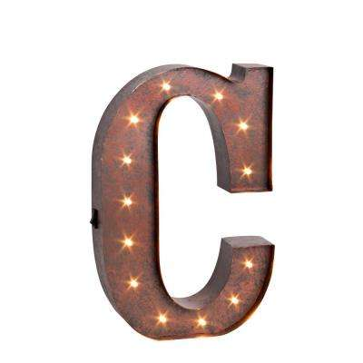 "12 in. H ""C"" Rustic Brown Metal LED Lighted Letter"