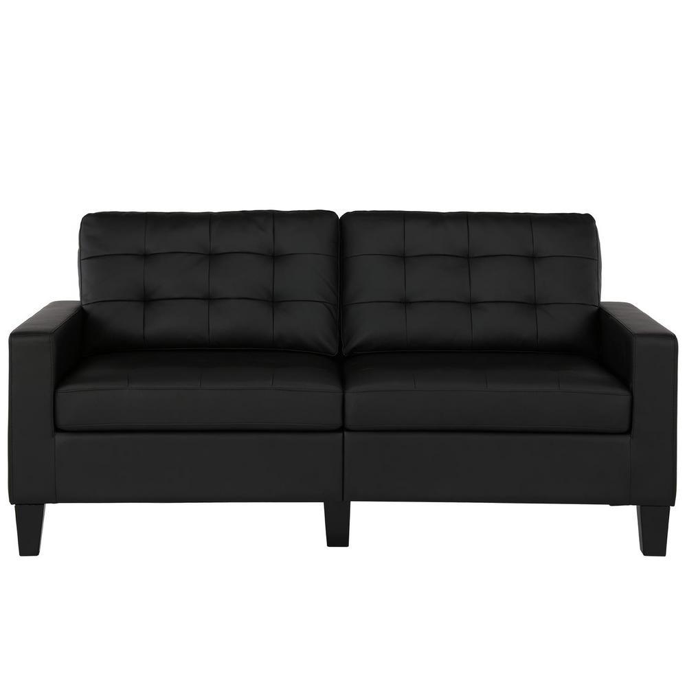Bowie Black Faux Leather Sofa