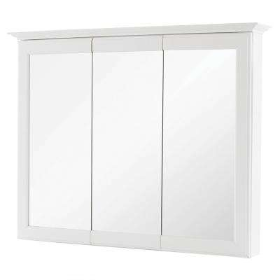 36-5/8 in. W x 29-1/4 in. H Fog Free Framed Surface-Mount Tri-View Bathroom Medicine Cabinet in White