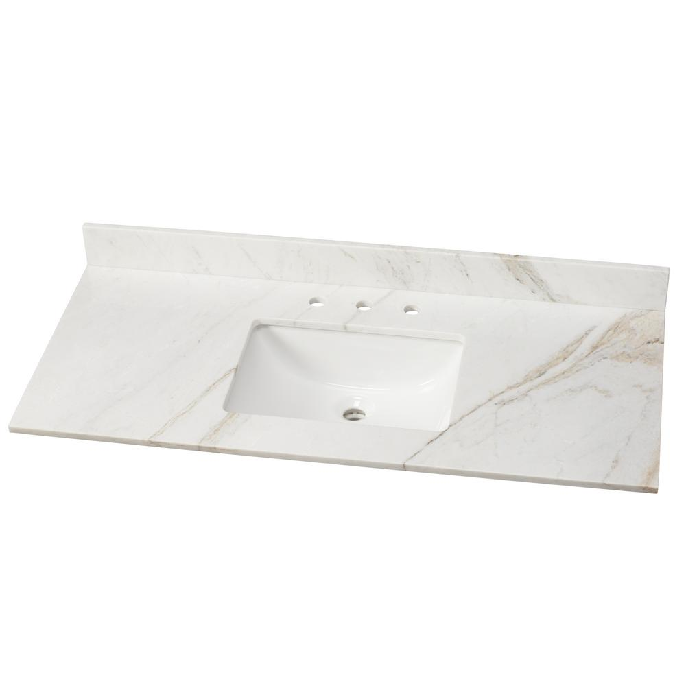 Exceptional Home Decorators Collection 49 In. W Marble Vanity Top In Arabescato Venato