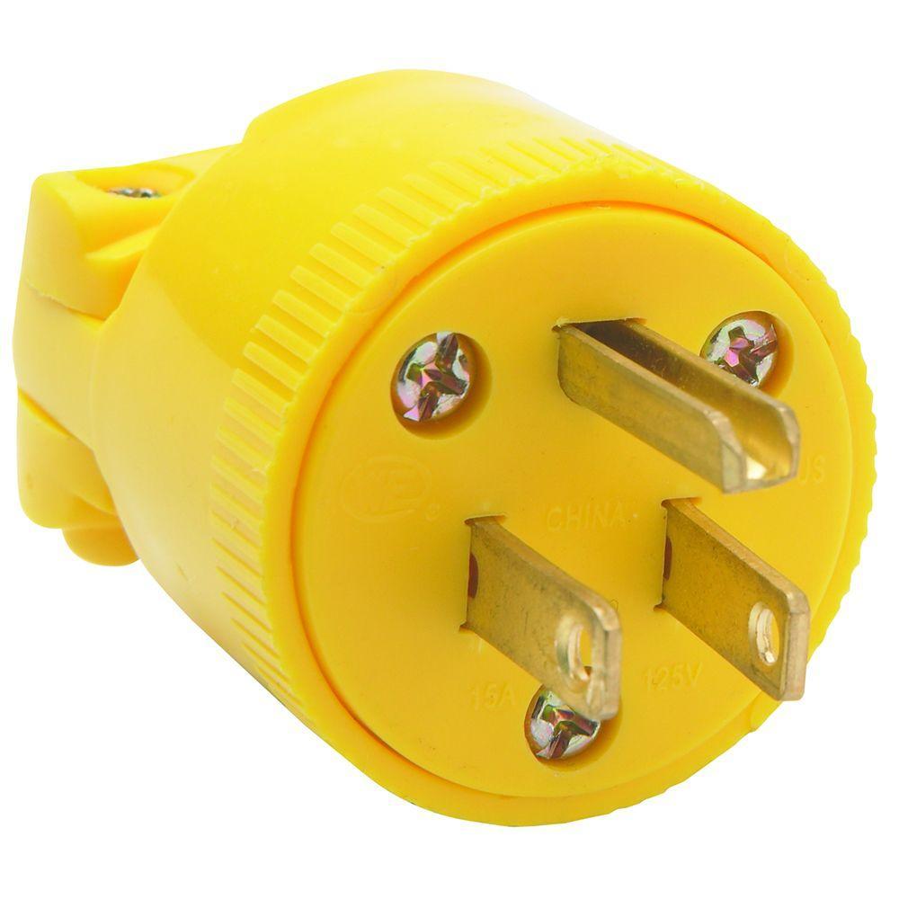 15 Amp 125-Volt NEMA 5-15P Plug - Yellow