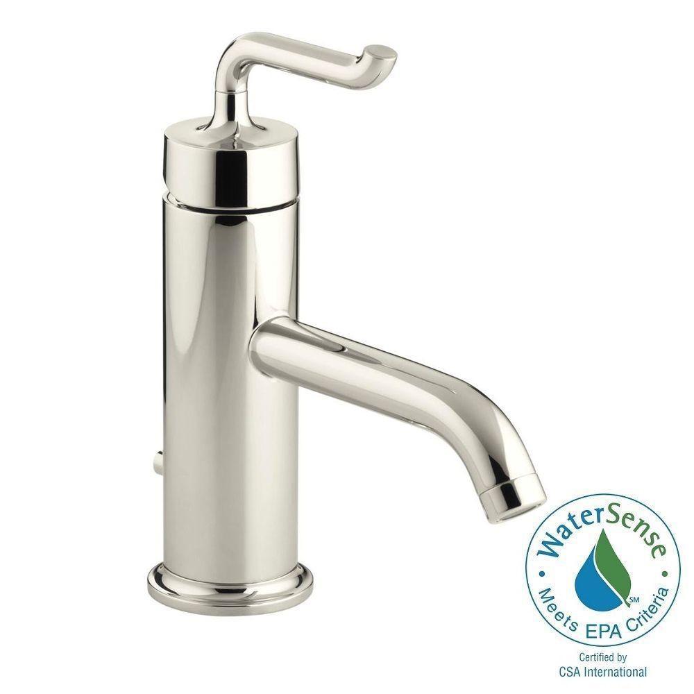 KOHLER Purist Single Hole Single Handle Low-Arc Bathroom Vessel Sink Faucet in Vibrant Polished Nickel