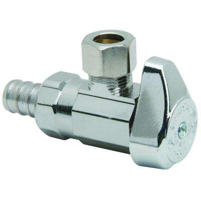 1/2 in. Nominal Crimp PEX Barb Inlet x 3/8 in. O.D. Compression Outlet Brass 1/4-Turn Angle Valve (5-Pack)
