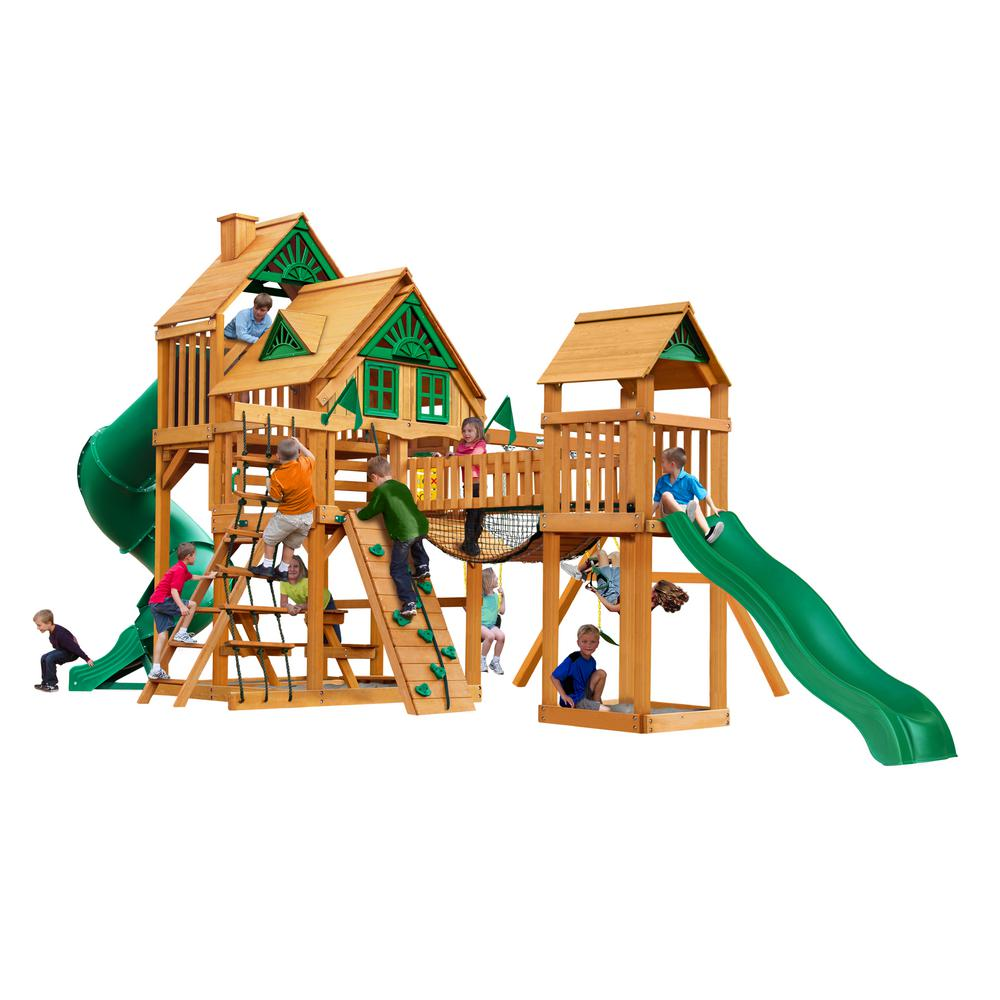 Gorilla Playsets Treasure Trove I Treehouse Wooden Playset with 2 Slides and Clatter Bridge