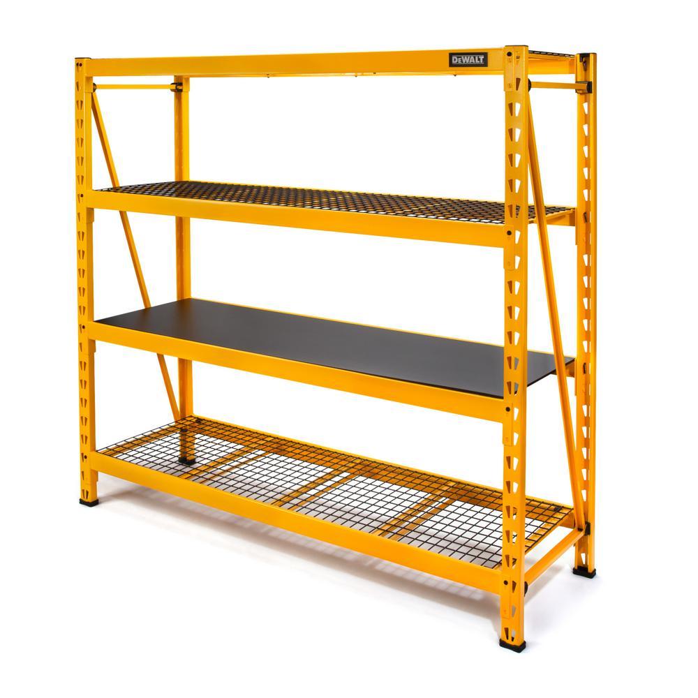 Yellow 4-Tier Steel Garage Storage Shelving Unit (77 in. W x 72 in. H x 24 in. D)