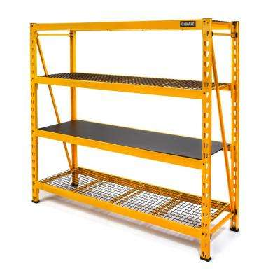 72 in. H x 77 in. W x 24 in. D 4-Shelf Steel/Laminate Expandable Industrial Storage Rack Unit in Yellow