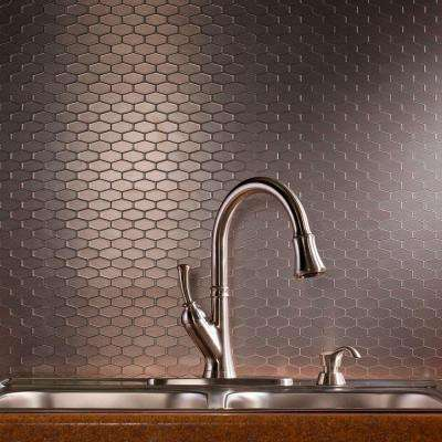 Wide Hex 6 in. x 4 in. Stainless Matted Metal Decorative Backsplash Tile