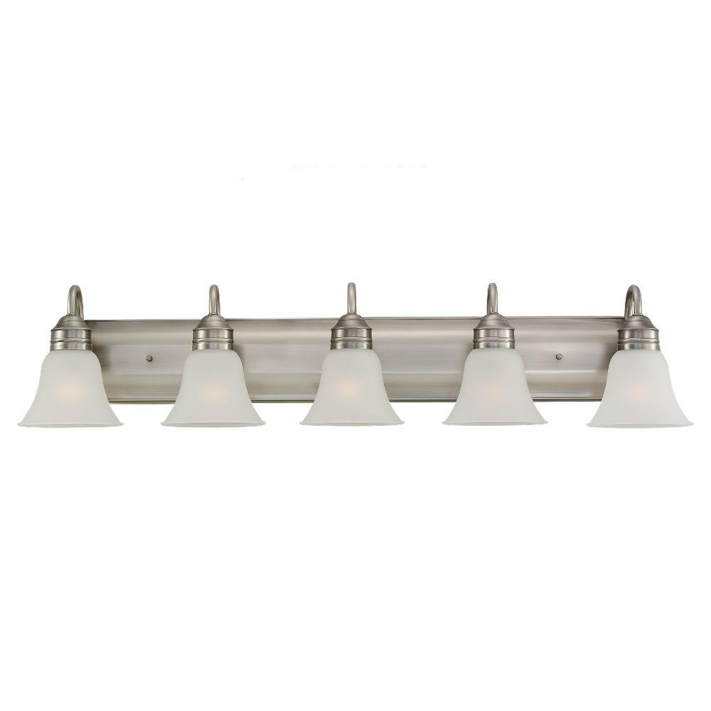 Sea gull lighting gladstone 41 25 in w 5 light antique brushed nickel vanity fixture