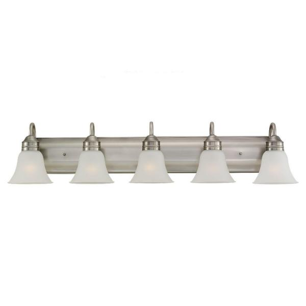 Gladstone 41.25 in. W 5-Light Antique Brushed Nickel Vanity Fixture with Satin Etched Glass