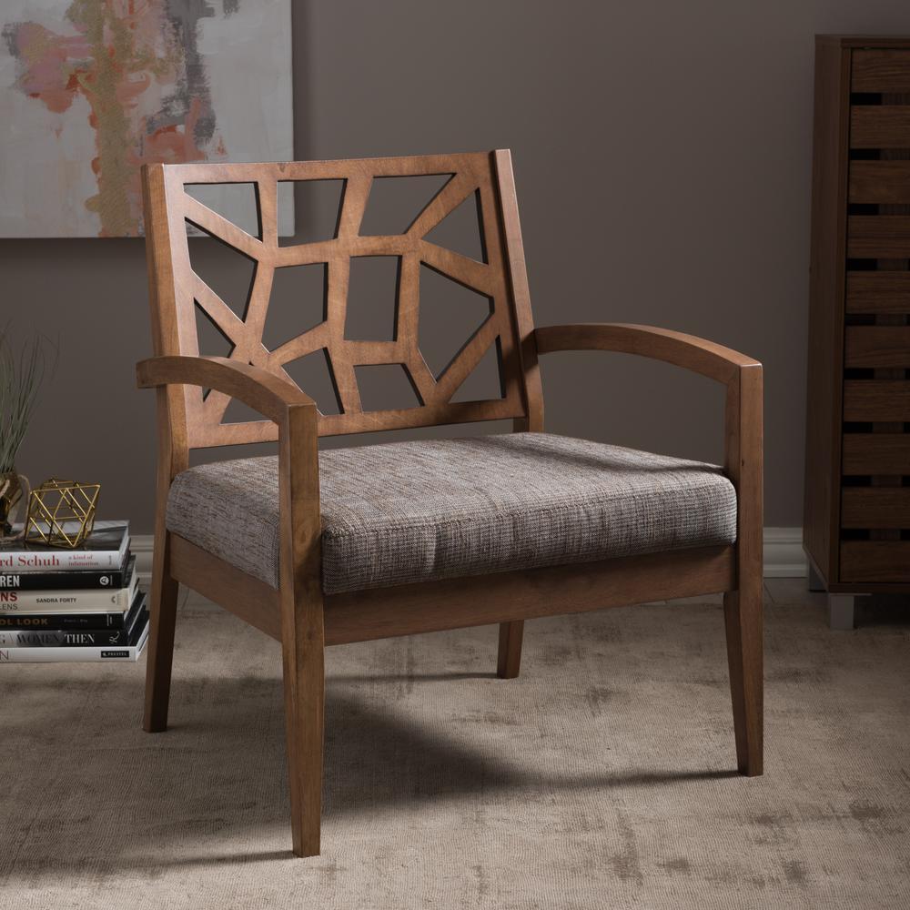 Baxton Studio Jennifer Grey Fabric Upholstered Lounge Chair