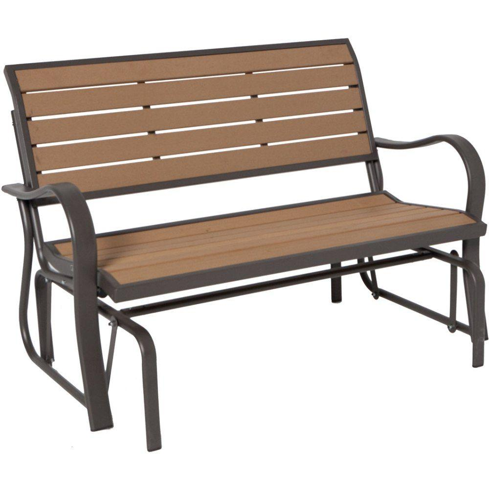 Delightful Wood Alternative Patio Glider Bench