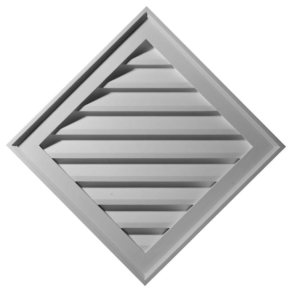 Ekena Millwork 2 in. x 34 in. x 34 in. Decorative Diamond Gable Louver Vent