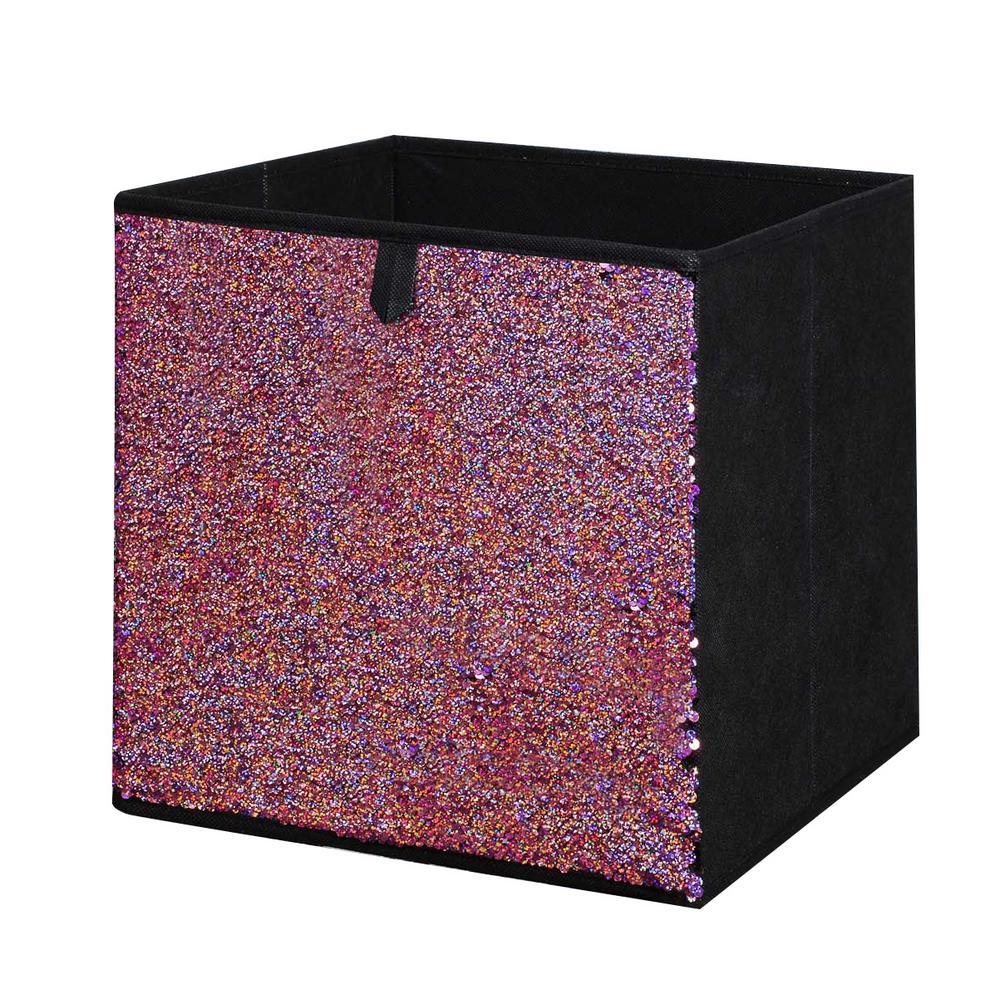 12.5 in. x 12.5 in. Pink Sequin Storage Bin (2-Pack)
