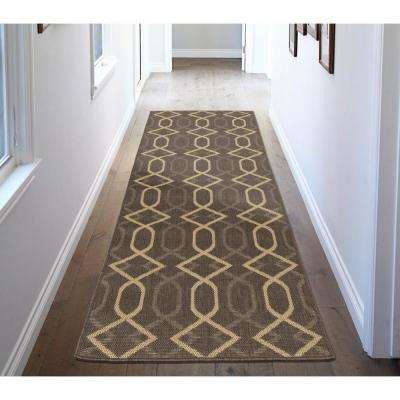 Jardin Collection Diamond Trellis Design Natural Mocha 3 ft. x 7 ft. Indoor/Outdoor Runner Rug