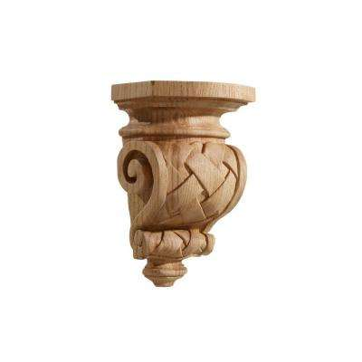 6 in. x 4 in. x 9 in. Red Oak Medium Carved Basketweave Corbel