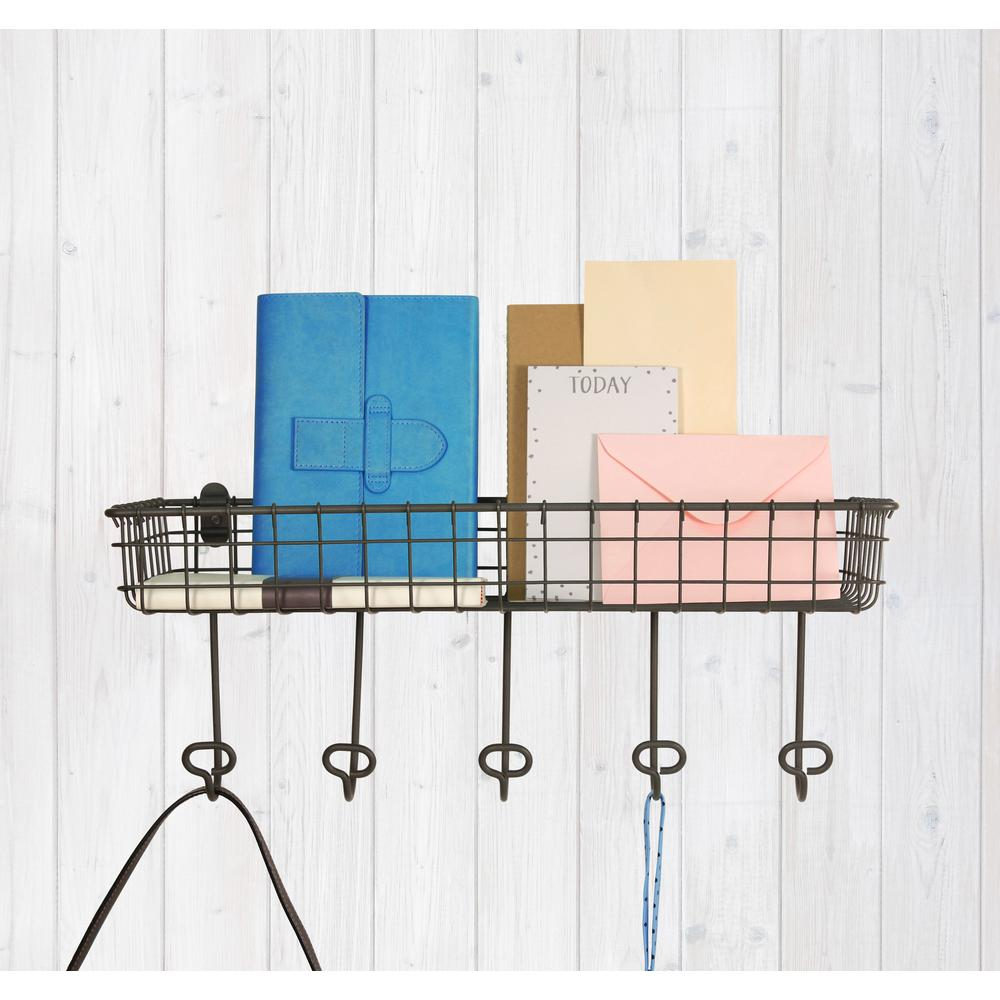 Spectrum Vintage Wall Mount Steel Tray and Hook Station in ...