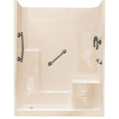 32 in. x 60 in. x 77 in. Freedom Low Threshold 3-Piece Shower Kit in Bone Brushed Nickel Package, RHS Seat and LHS Drain