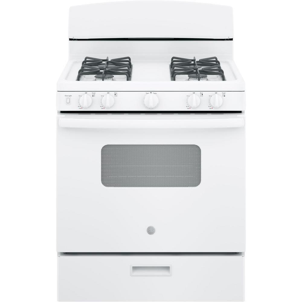 Ge 30 In 4 8 Cu Ft Gas Oven White