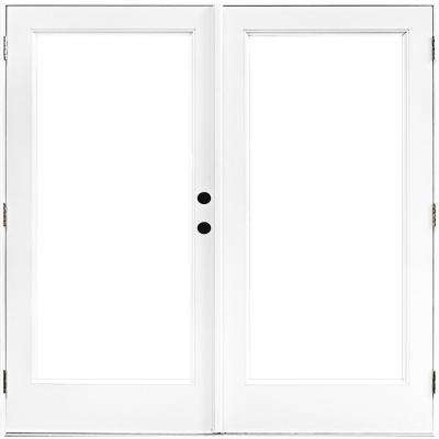 72 in. x 80 in. Fiberglass Smooth White Left-Hand Outswing Hinged Patio Door