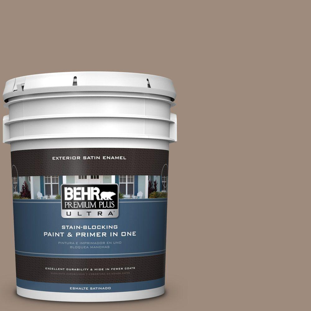 BEHR Premium Plus Ultra 5-gal. #BXC-49 Smokey Tan Satin Enamel Exterior Paint