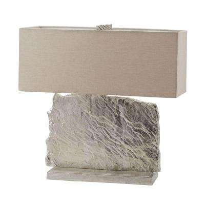 Slate Slab 24 in. Silver Table Lamp with Natural Linen Shade