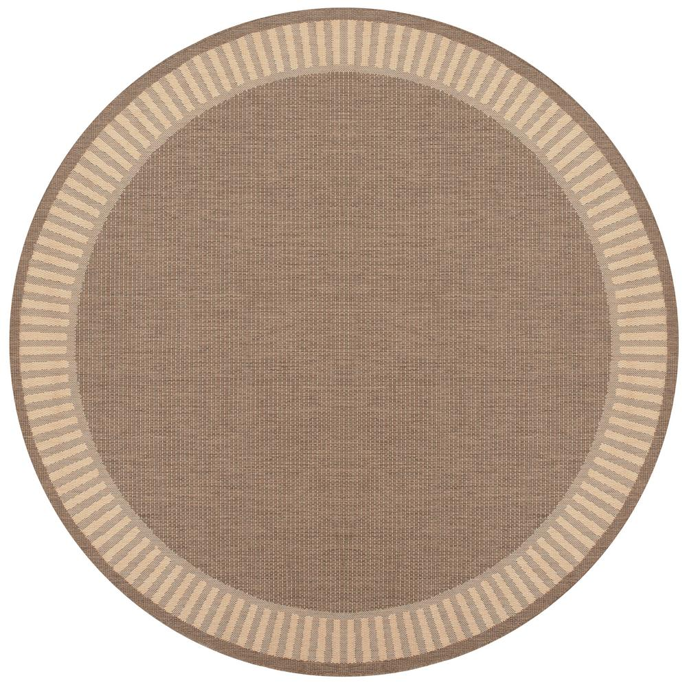 Couristan Recife Wicker Stitch Cocoa Natural 8 Ft X 8 Ft Round
