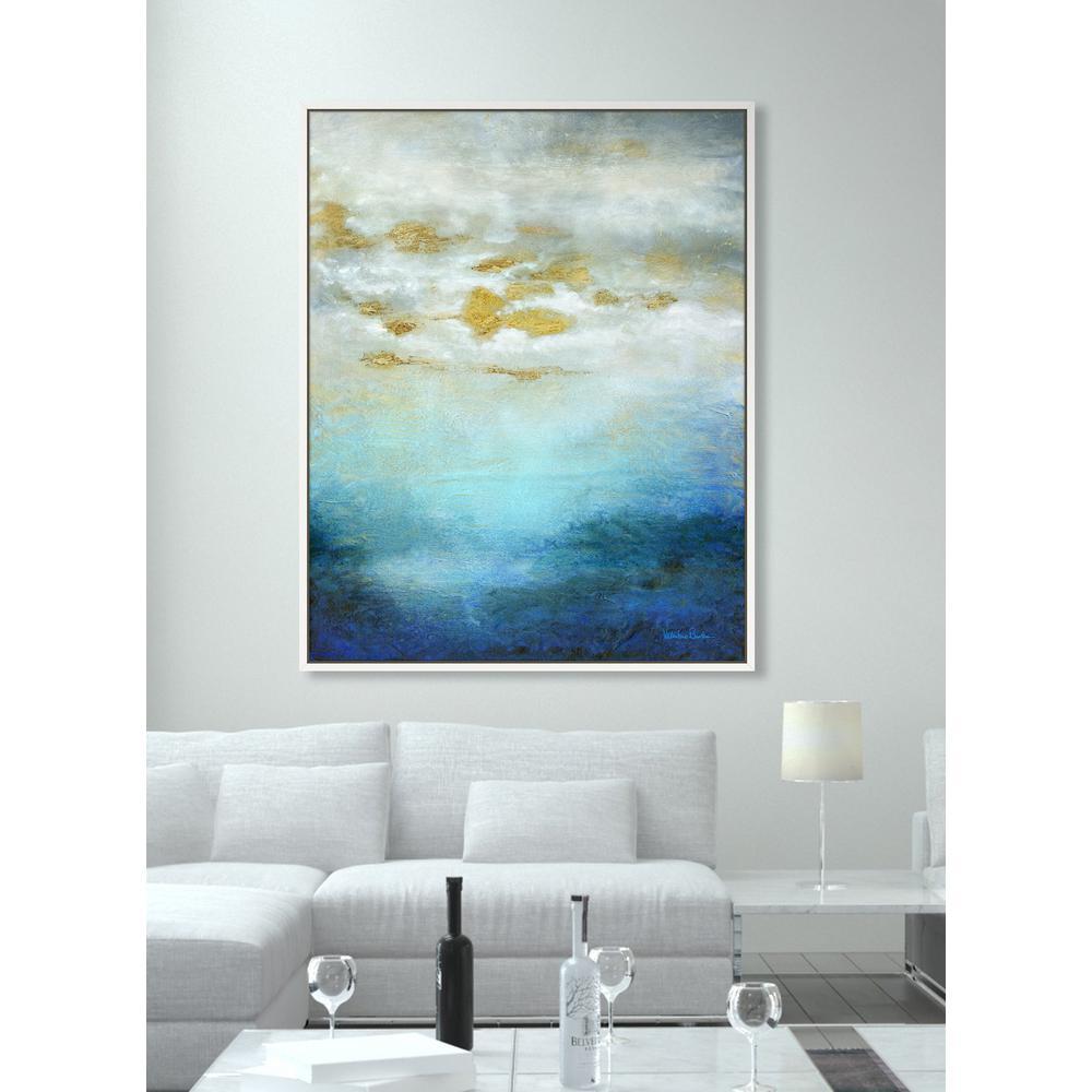 "39 in. x 49 in. ""Deep Horizon II"" Framed Canvas Wall Art"