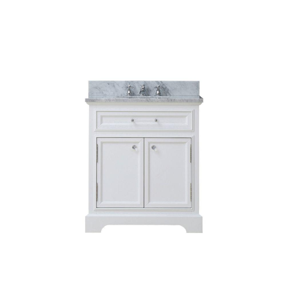 Water Creation 30 in. W x 22 in. D Bath Vanity in White with Marble Vanity Top in Carrara White and Chrome Faucet with White Basin
