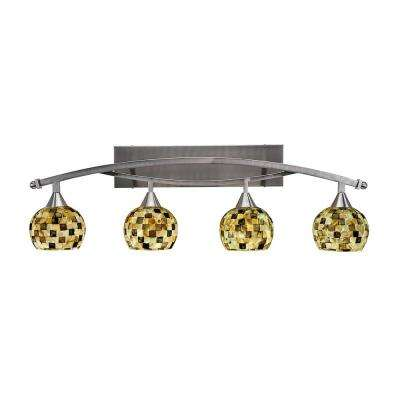 4-Light 20 in. Brushed Nickel Vanity Light with 6 in. Sea Mist Seashell Glass