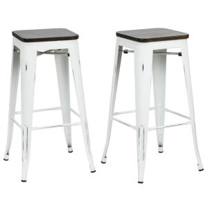 Wondrous Dhp Lena 24 In White Metal Counter Stool With Wood Seat Gmtry Best Dining Table And Chair Ideas Images Gmtryco