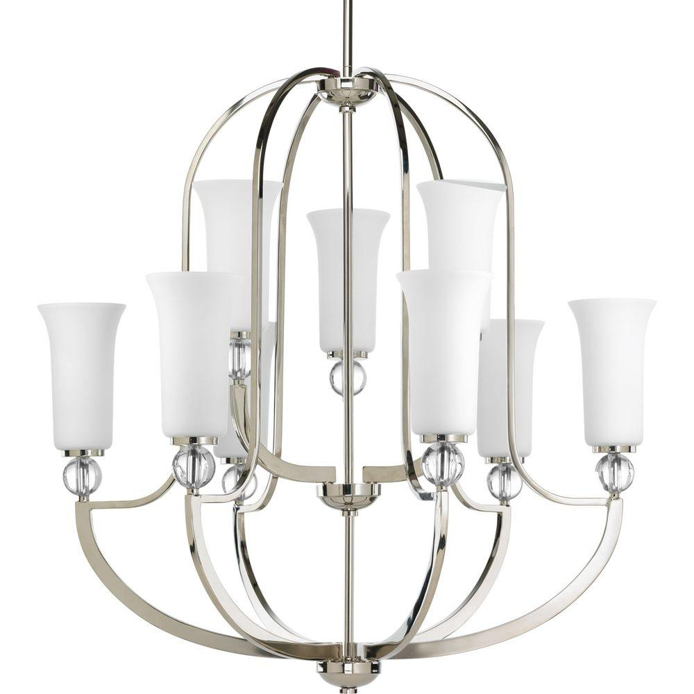 Progress Lighting Elina Collection 9-Light Polished Nickel Chandelier with Opal Glass Shade