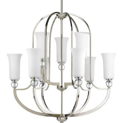 Elina Collection 9-Light Polished Nickel Chandelier with Opal Glass Shade