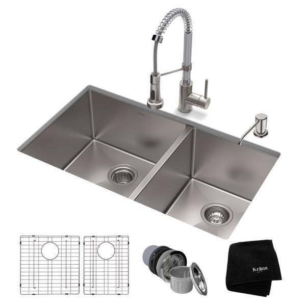 Standart PRO All-in-One Undermount Stainless Steel 33 in. Double Bowl Kitchen Sink with Faucet in Stainless Steel Chrome