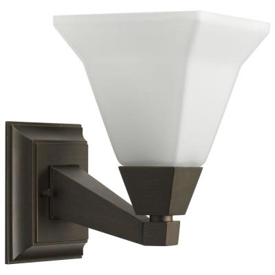 Glenmont Collection 1-Light Venetian Bronze Bath Sconce with Opal Etched Glass Shade