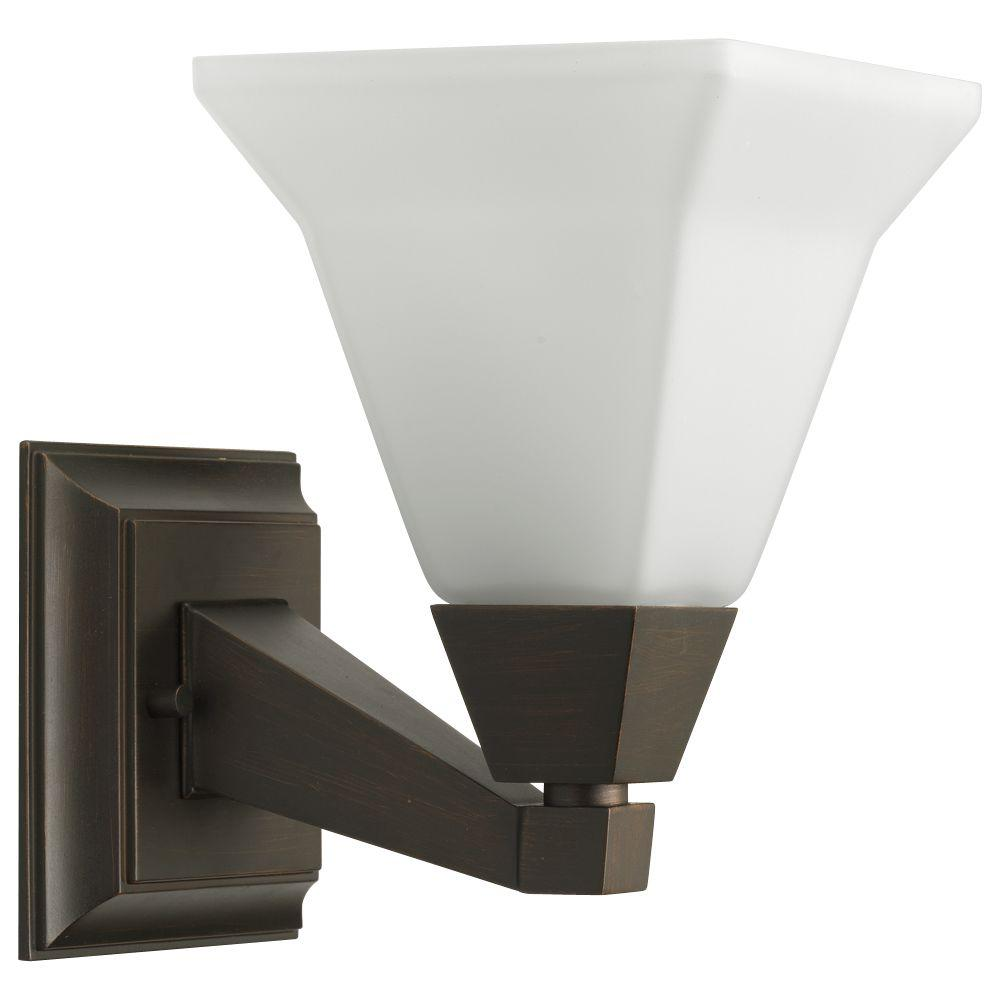 Progress Lighting Glenmont Collection 1 Light Venetian Bronze Bath Sconce With Opal Etched Glass Shade P3135 74