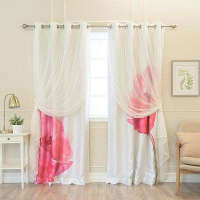 84 in. L uMIXm White Tulle and Faux Silk Magenta Watercolor Blackout Curtain Panel (4-Pack)