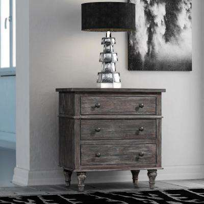 Valles 3-Drawer Distressed Charcoal Chest