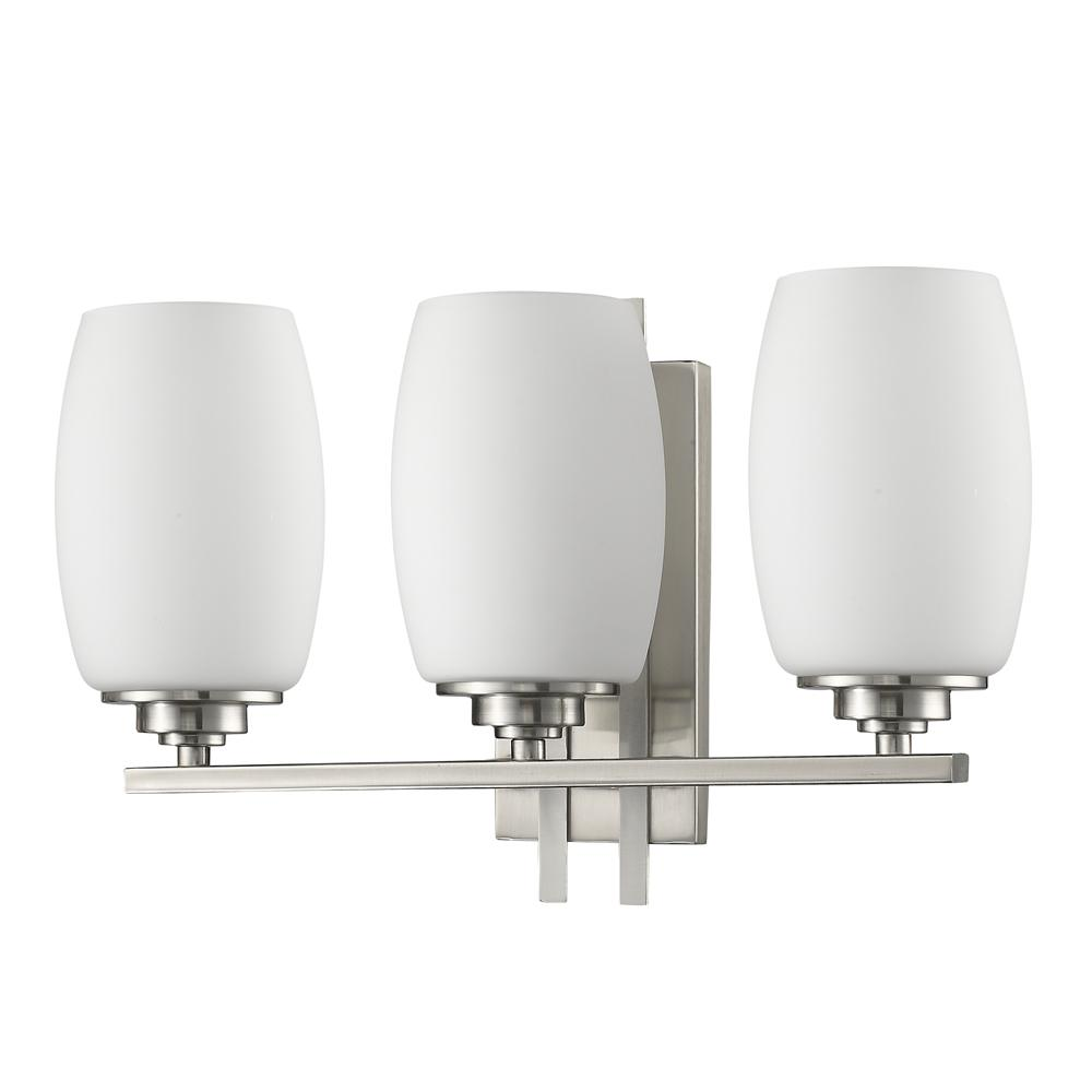 Acclaim Lighting Sophia 3-Light Satin Nickel Vanity Light with Frosted Glass Shades