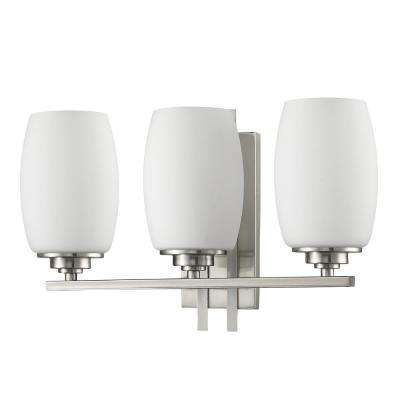 Sophia 3-Light Satin Nickel Vanity Light with Frosted Glass Shades
