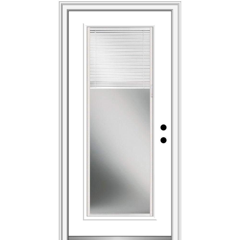 MMI Door 32 in. x 80 in. Internal Blinds Left-Hand Inswing Full Lite Clear Classic Primed Fiberglass Smooth Prehung Front Door