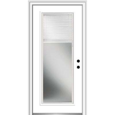 30 in. x 80 in. Internal Mini Blinds Left-Hand Inswing Full Lite Clear Primed Fiberglass Smooth Prehung Front Door